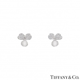 Tiffany & Co. Platinum Diamond Paper Flowers Earrings